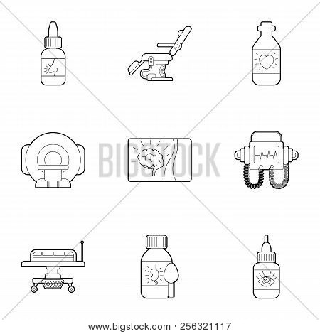 Diagnosis And Treatment Of Diseases Icons Set. Outline Illustration Of 9 Diagnosis And Treatment Of