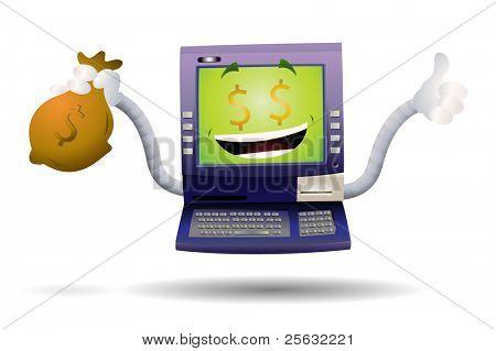 ATM machine happy to show its money.