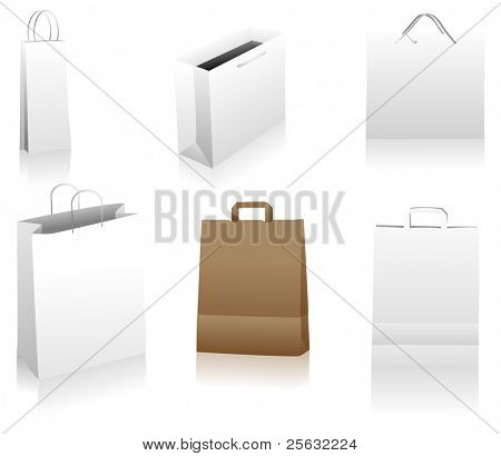 Set of shopping bags. You can place your designs on the surface.