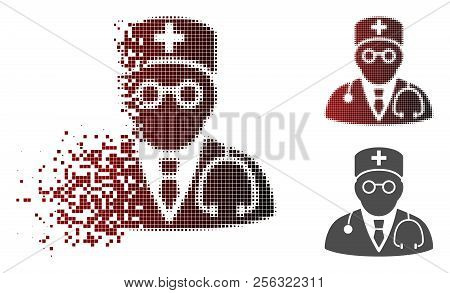 Physician Icon In Dispersed, Pixelated Halftone And Undamaged Solid Versions. Pieces Are Combined In