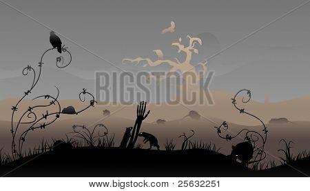 Creepy halloween scene with rats and birds.