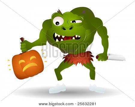 Green monster ready to kill a pumpkin. Linear and radial gradients.