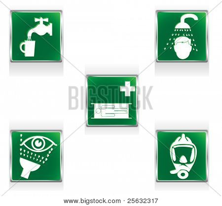 First aid icons representing five situations requiring special care. Linear and radial gradients.
