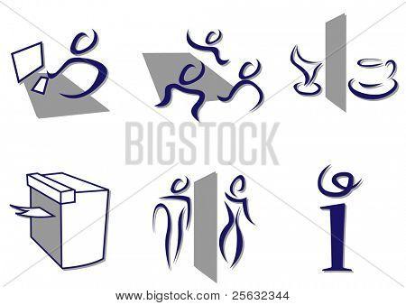 Stylish set of office icons sketch like.