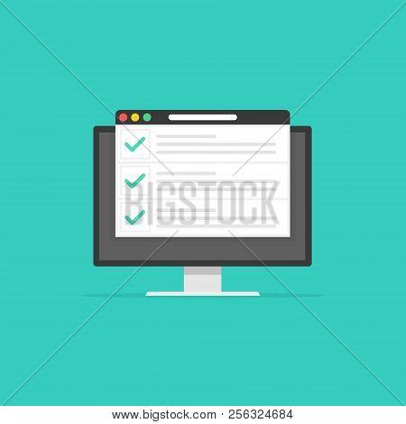 Checklist Browser Window. Check Mark. White Tick On Computer Screen. Choice, Survey Concepts. Elemen