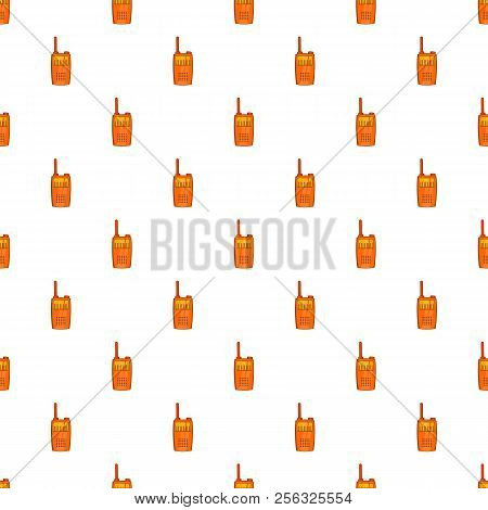 Orange Portable Handheld Radio Pattern. Cartoon Illustration Of Portable Handheld Radio Pattern For
