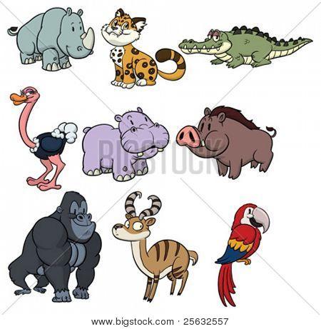 Nine cute wildlife cartoon animals.