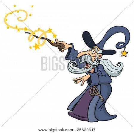 Cartoon wizard casting spell. Wizard character and
