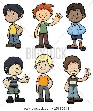 Cute cartoon kids of different ethnicity. All in separate layers for easy editing.