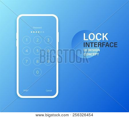 Passcode Lock Interface For Lock Screen, Login Or Enter Password Pages. Vector Phone Id Recognition