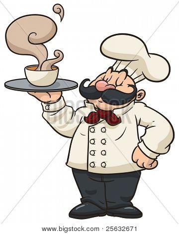 Cocinero de dibujos animados sosteniendo un vaporoso plato de sopa.
