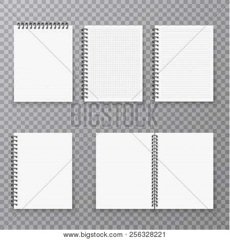 Blank Open And Closed Realistic Notebook Collection, Organizer And Diary Vector Template Isolated. P