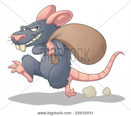 Cartoon Ratte stehlen und ausführen. einfache Farbverläufe verwendet. Charakter und Schatten auf separaten Ebenen für