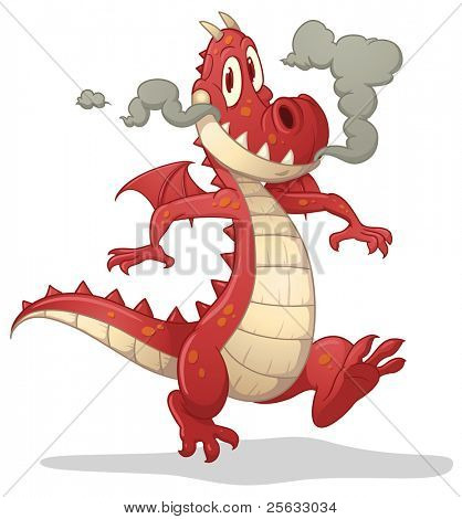 Cute cartoon red dragon. Vector illustration with simple gradients. Character and shadow on separate layers for easy editing.