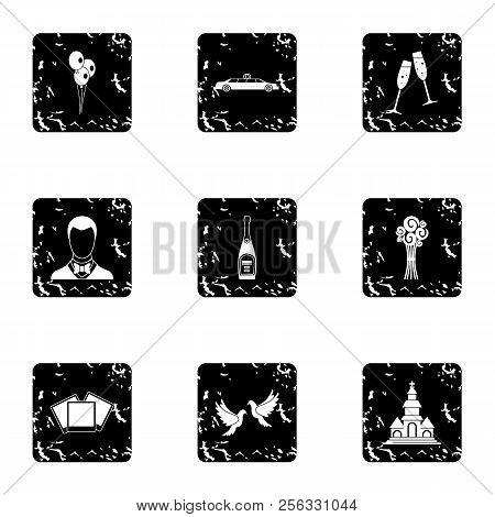Wedding Ceremony Icons Set. Grunge Illustration Of 9 Wedding Ceremony Icons For Web