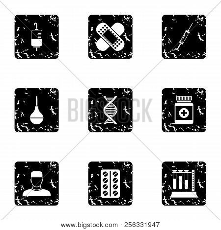 Diagnosis Icons Set. Grunge Illustration Of 9 Diagnosis Icons For Web