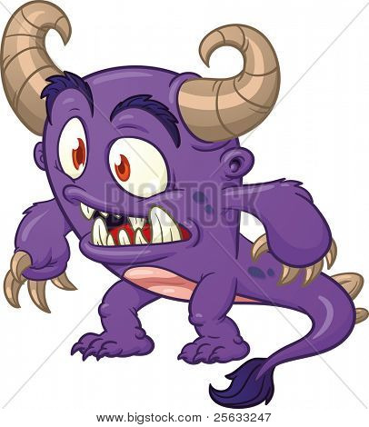 Cute cartoon purple monster. Vector illustration with simple gradients. All in a single layer.