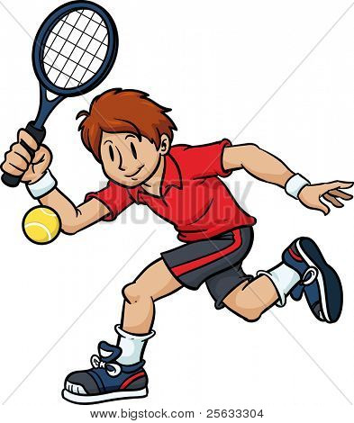 Cartoon tennis player. Character and tennis ball on separate layers for easy editing.