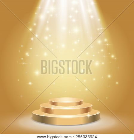 Stage Podium With Spotlight On Gold Background. Vector Illustration