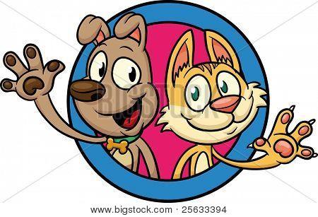 Cute cartoon hond en kat zwaaien. Allemaal in een enkele laag.
