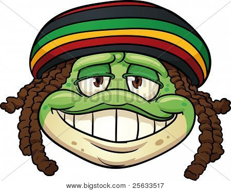 Cartoon frog wearing a Rastafarian hat. Vector illustration with simple gradients. All in a single layer.