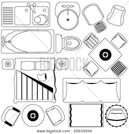 A set of simple vector Icons : Simple Furniture / Floor Plan (Outline)