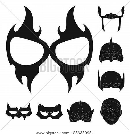 Vector Illustration Of Hero And Mask Logo. Collection Of Hero And Superhero Stock Vector Illustratio