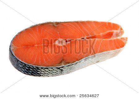 Closeup photo of raw salmon with skin