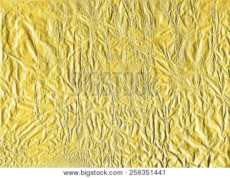 Shiny Yellow Gold Crumpled Wrapping Paper Foil Texture For Wallpaper Decoration Element Background,