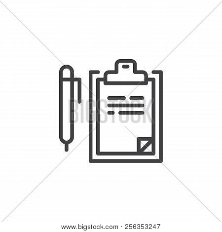 Writing Pad And Pen Outline Icon. Linear Style Sign For Mobile Concept And Web Design. Consent Line