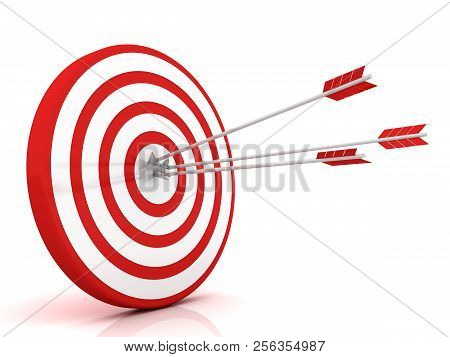 Arrows Hitting The Center Of Target - Success Business Concept. 3d Image Renderer