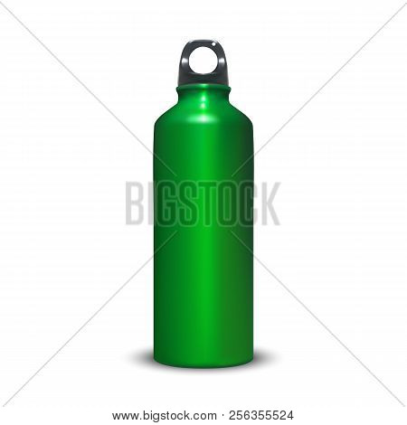 Aluminum Bottle Vector Illustration Of Sport Aluminum Water Container With Plastic Ring Bung. Isolat