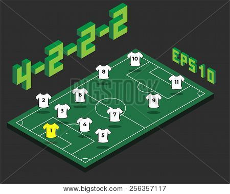 Football 4-2-2-2  Formation With Isometric Field. Soccer Popular  Strategy Concept. Vector Champions