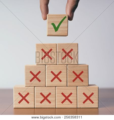 Voting Concept Wooden Cube With Voting Symbols