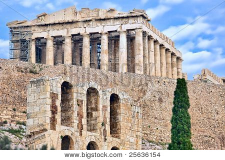 Ancient Greek Parthenon On Acropolis Hill In Athens