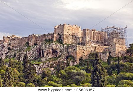 Panoramic View Of Acropolis Hill In Athens