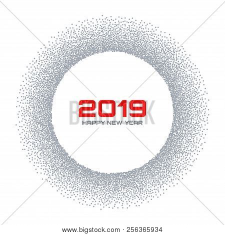 New Year 2019 Card. Snow Flake Circle Frame. Halftone Gray Dots Background. Christmas Round. Vector