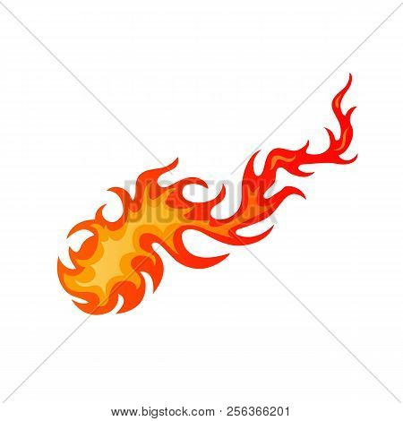 Burning Hot Comet Cartoon Sign. Bright Fire Flame In Blazing Inferno Fireball In Red And Orange Colo