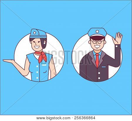 Aircraft Or Cabin Crew With Steward Or Pilot And Stewardess Icons. Friendly Flight Attendants And Co