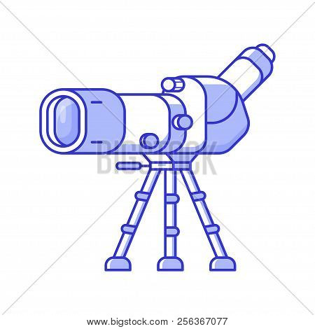 Birdwatching Monocular In Line Art. Travel Spotting Scope On Tripod Icon. Birding Telescope For Watc