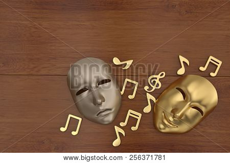Theatrical mask and music notes 3d illustration. poster