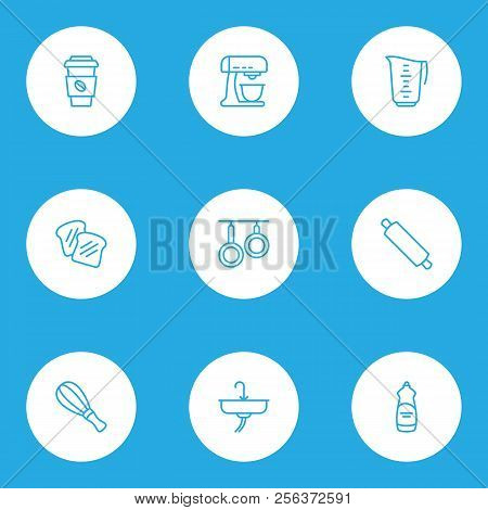 Culinary Icons Line Style Set With Whisk, Mixer, Dishwasher Liquid And Other Decaf Elements. Isolate