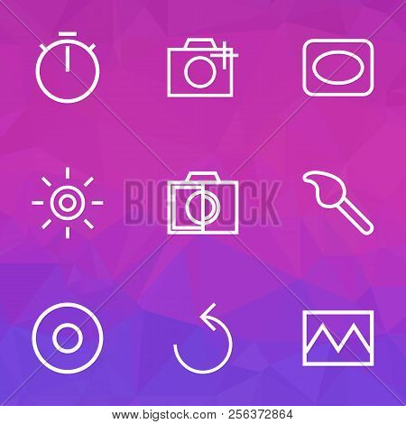 Photo Icons Line Style Set With Photo, Colorless, Frame And Other Timer Elements. Isolated Vector Il