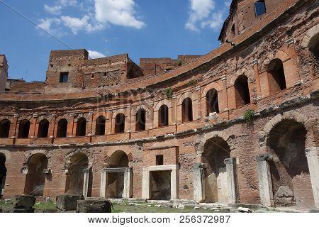 Ancient Roman Trajan Forum Markets Ruins, Rome, Italy