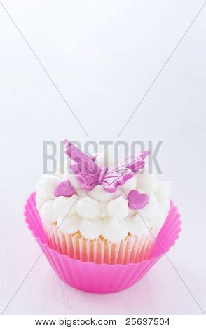 Vanilla Cupcake With Butterfly Decorations