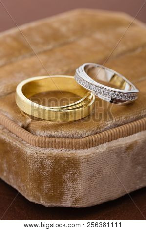 Two-tone Wedding Rings In Velvet Jewelry Box. Gold And Silver Rings In Jewelry Holder Box