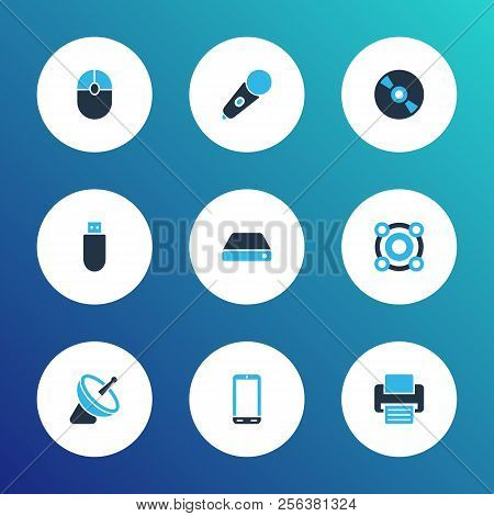 Gadget Icons Colored Set With Cd, Hard Drive, Satellite And Other Antenna Elements. Isolated Vector