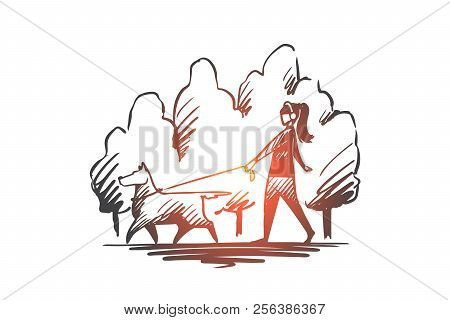 Walk, Pet, Dog, Lifestyle, Darling Concept. Hand Drawn Isolated Vector.