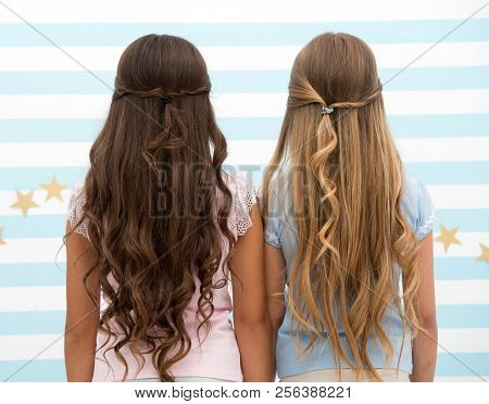 poster of hairdresser salon services. two little girls kids with long hair at hairdresser. little girls with long curly hair. long and healthy hair. kertatine mask