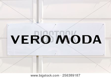 Saint Egreve, France - June 25, 2017: Vero Moda sign on a wall. Vero Moda is a fashion company for women and it is a brand of to the danish group Bestseller